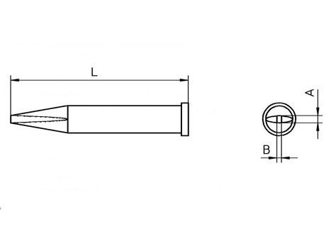 Lötspitze Weller XT-AL 1,6x 1,0mm meißelförmig / lang XTAL