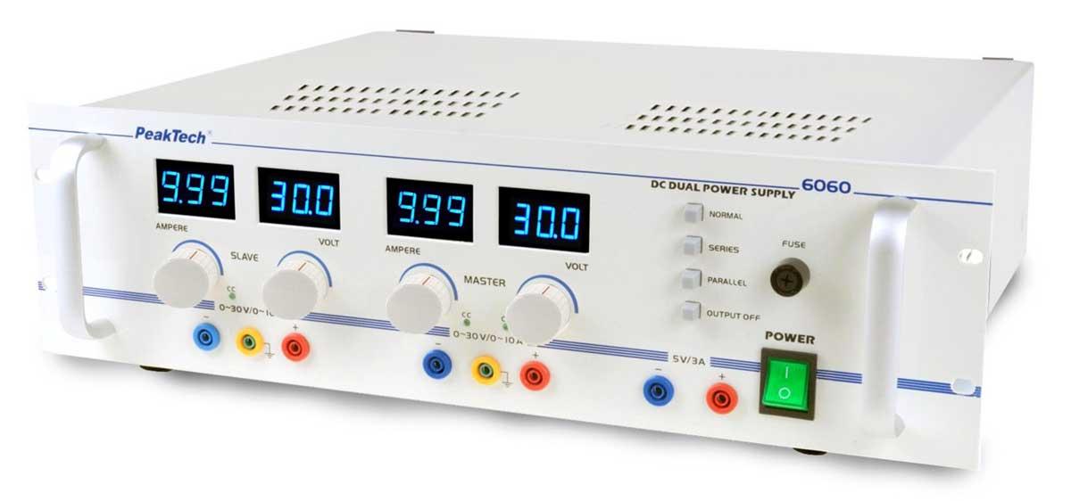 """Labornetzgerät 19"""" 2x 0-30V / 0-10A PeakTech 6060"""