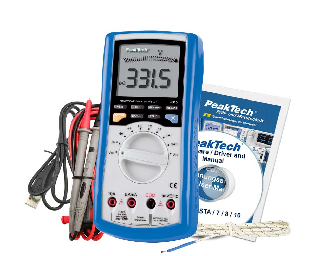 Digital-Multimeter PeakTech P-3315-USB mit PC-Schnittstelle