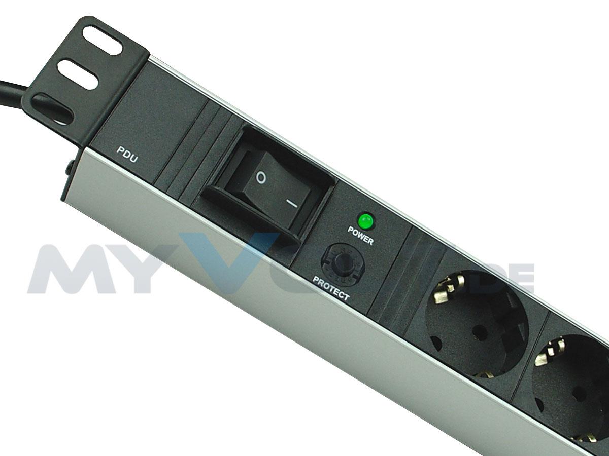 Aluminium Steckdosenleiste 19 Zoll 7-fach mit Überlastschutz