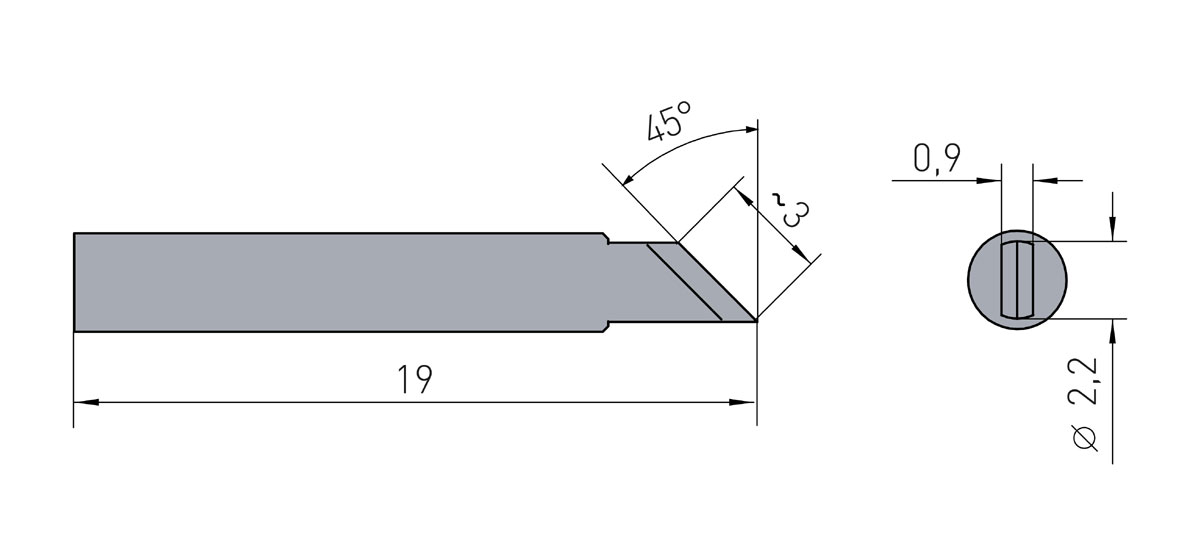 Lötspitze Weller RTM-030-K / RT7 - 2,2mm (Messer / 45° abgeschrägt) RT-7 - 40 W