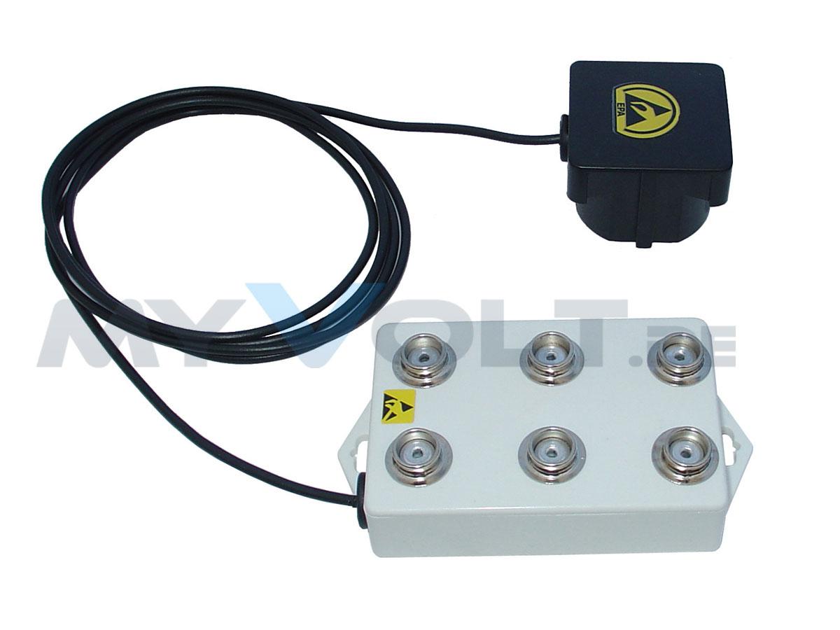 ESD-Erdungsbox mit 6x 10,3 mm Druckknopfanschlüssen