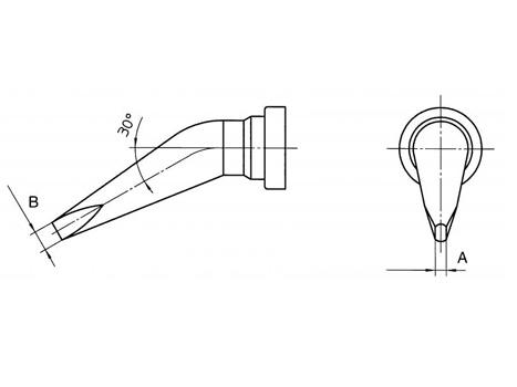 Lötspitze Weller LT-ALX 1,6 mm - 30° gebogen - LTALX meißelförmig