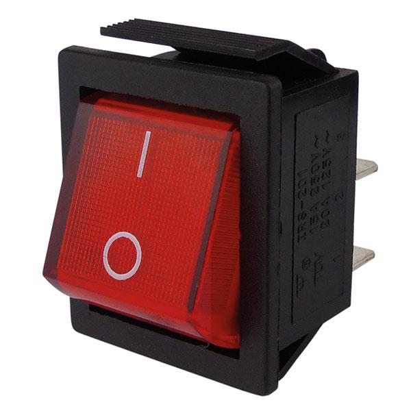 Wippenschalter rot  IO mit Beleuchtung