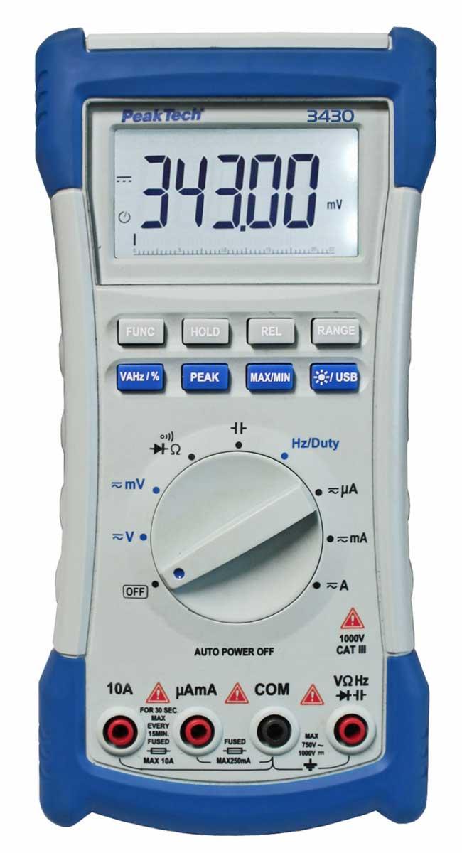 Digital-Multimeter PeakTech P-3430 mit USB-Anschluss