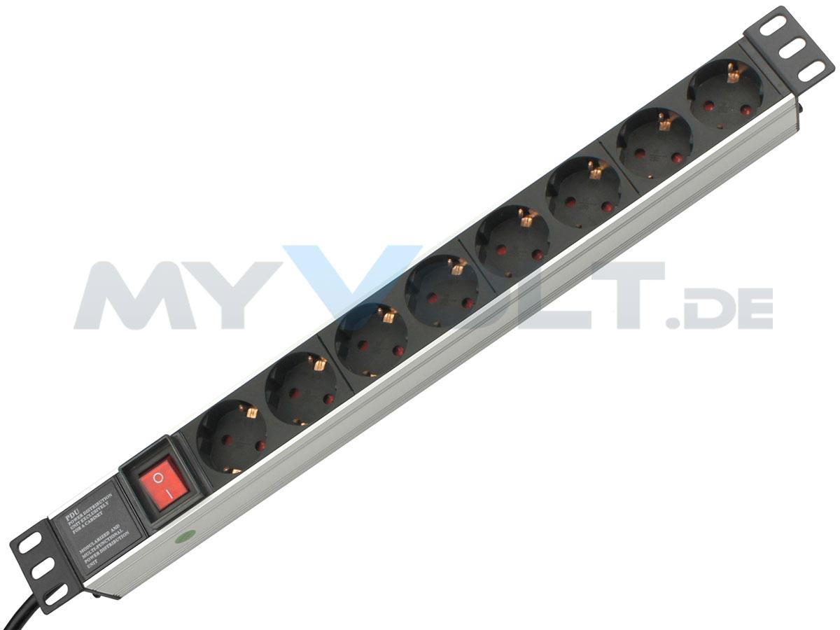Aluminium Steckdosenleiste 19 Zoll mit 8 Steckplätzen