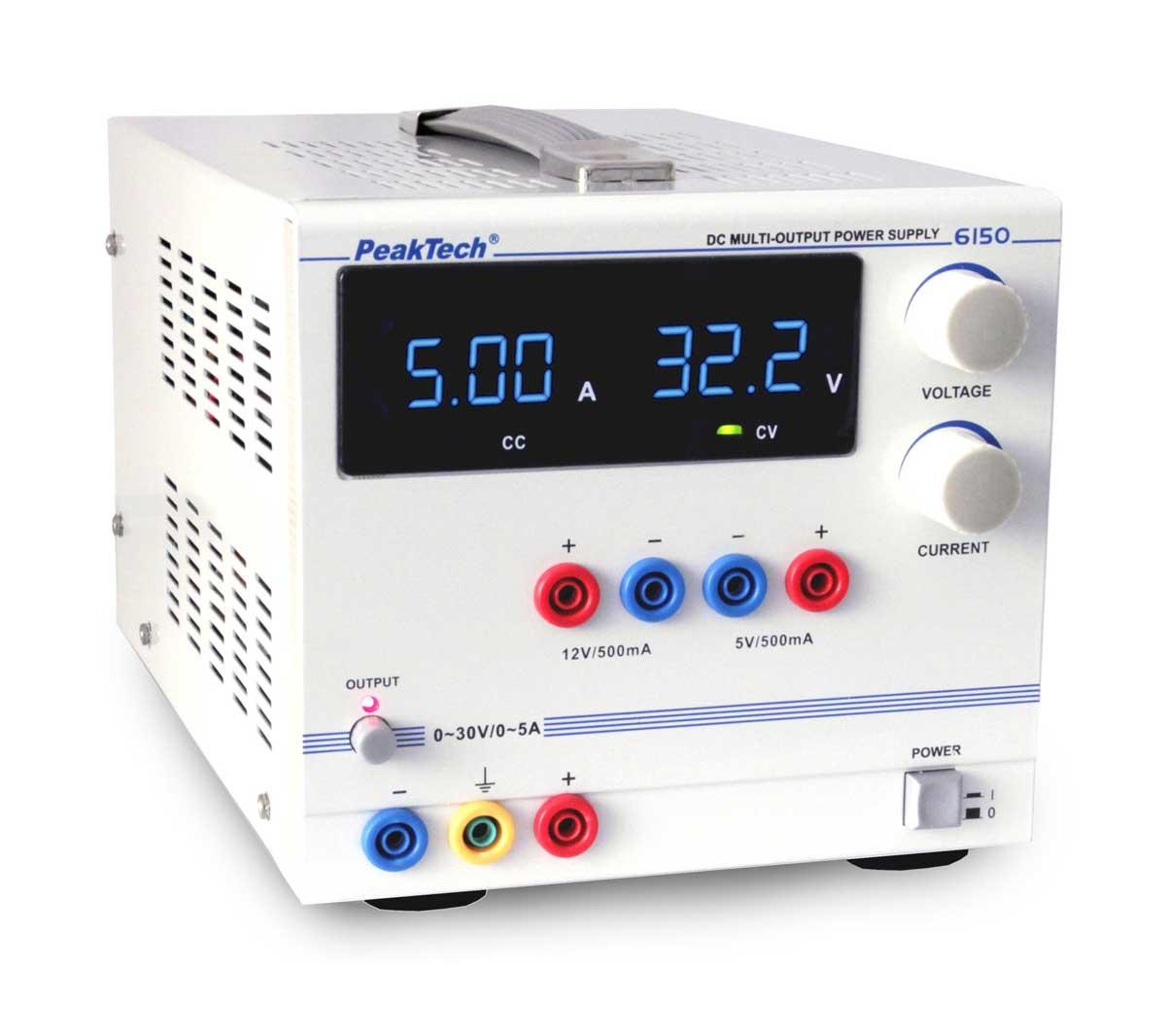 Labornetzgerät 0-30V 0-5A und 5V/12V 500 mA LED PeakTech P-6150