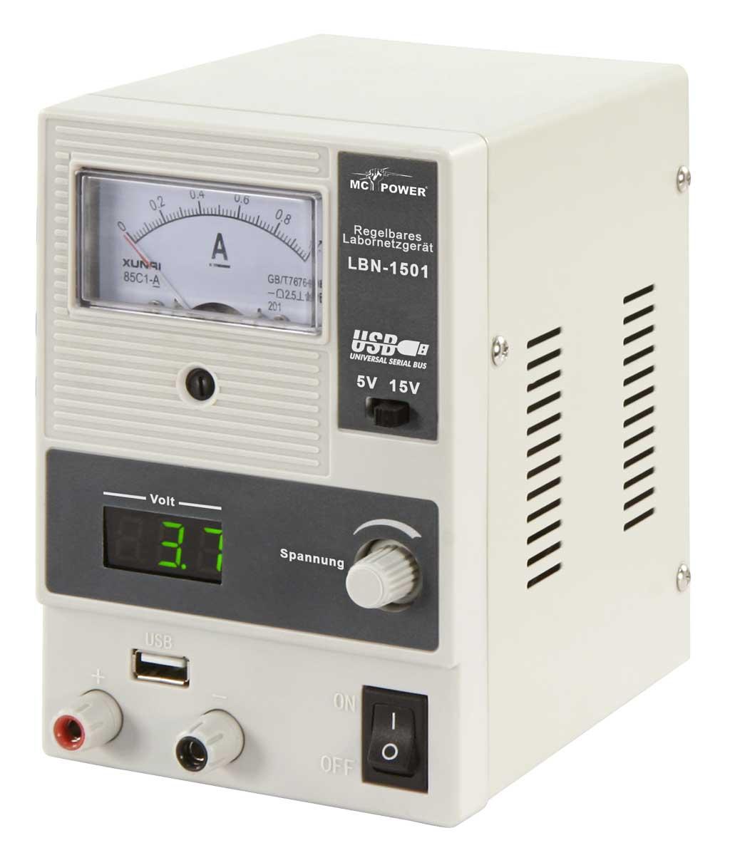 Labornetzgerät 0-15V 1A Analog / Digitalanzeige USB