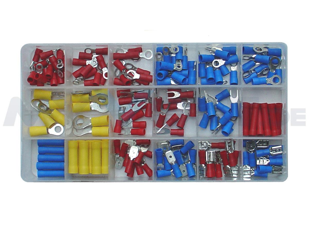 Kabelschuh-Steckverbinder-Sortiment 165-teilig