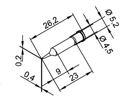 Lötspitze ERSA 102CDLF04 0,4mm meißelförmig