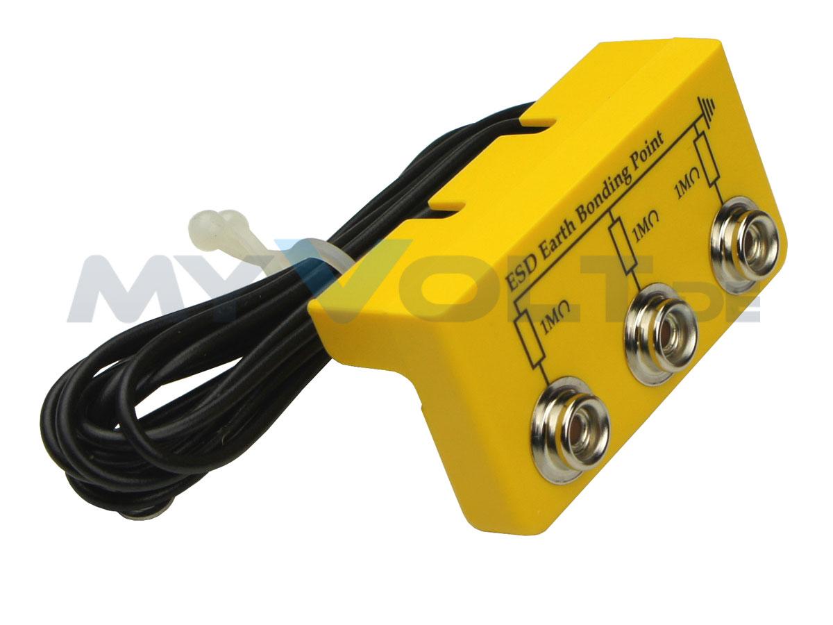 ESD-Erdungsbox mit 3x 10,3 mm Druckknopfanschlüssen