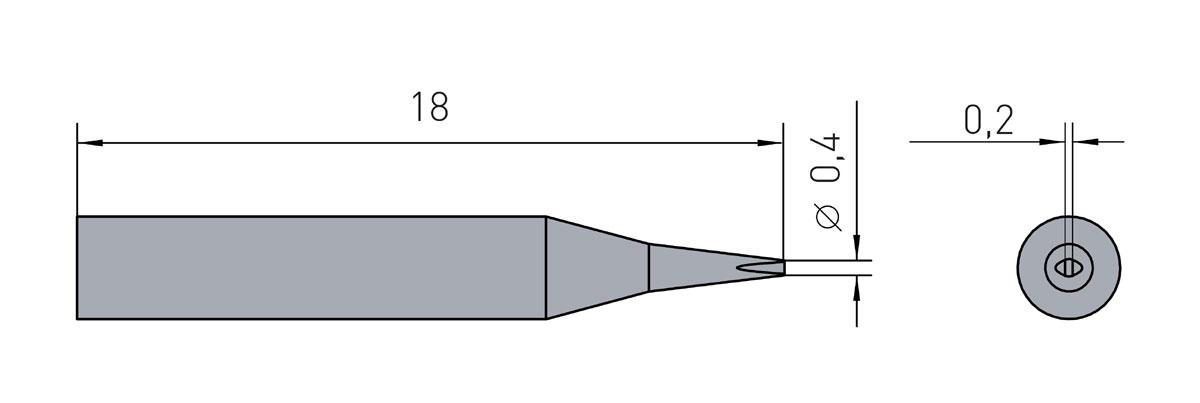 Lötspitze Weller RTM-004-S / RT1SC - 0,4x 0,15mm (meißelförmig) RT-1SC - 40W