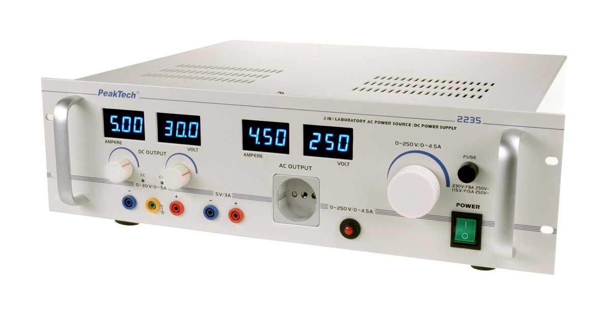 Labornetzgerät 0-30V / 0-5A und Regeltrenntrafo 1000 Watt PeakTech 2235