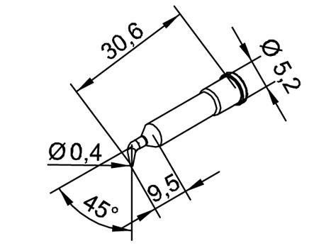 Lötspitze ERSA 102SDLF04 Ø 0,4mm 45° gebogen bleistiftspitz
